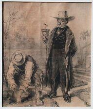 Honore Daumier original newspaper cartoon from 1846 Gardening