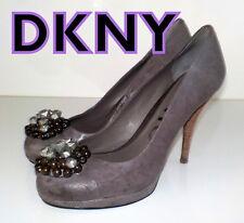 "FAB !!! ""DKNY"" Donna Karan Grey LEATHER Embellished Pumps Shoes UK 5 EU 38 £220"