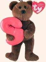 """TY Alphabet Beanies Letter S Bear 6""""...NEW"""