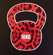 Crossfit style léopard rose fourrure kettlebell image 16kg autocollant voiture ipad workout