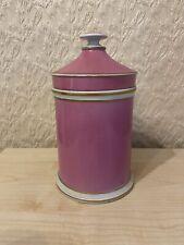 Victorian Pink Ceramic Apothecary Jar With Original Lid
