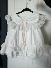 Vintage Baby Togs Baby Girl Pink Floral White Lace Dress 12months