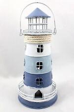 Metall Windlicht Leuchtturm blau weiß maritime Deko Teelichthalter zum Hängen