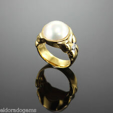 12.0 MM MABE PEARL & 0.20 CT. DIAMOND COCKTAIL RING 18K SOLID YELLOW GOLD US 6
