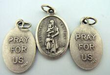 Silver Tone Saint Vincent De Paul Pray For Us Catholic Medal Charm, Lot of 3