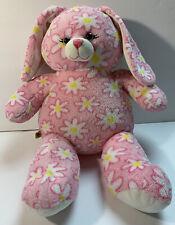 "Build A Bear Workshop Pink Daisy Flower Bunny Rabbit Stuffed Plush 16"" BABW Soft"
