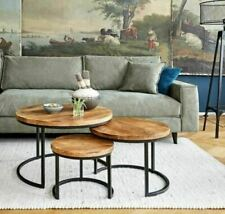 Industrial Nested Coffee Table Set Of Three Wood & Metal Side Table End Tables