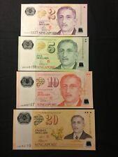 SINGAPORE set 4 NOTES  2-5-10-20 POLYMER 2004/2007 UNC