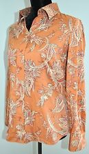 Coldwater Creek Women's Orange Brown Paisley Button Down Blouse Top Shirt Size S