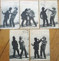 Set of FIVE 1905 Bergeret French Fantasy Postcards: Drunk Man & Shadow, Drinking