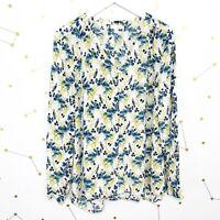 J Jill Blouse Size Medium M White Blue Floral Bird Print Button Down Long Sleeve