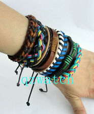 Wholesale Lots 30 pcs Mixed Style Surfer Cuff Ethnic Tribal Leather Bracelets