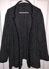 Maggie Barnes Black & White Tweed Checkered Plus Size Thin Overcoat Jacket 24W