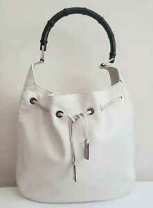 Gucci White Leather Bamboo Handle Shoulder Bag