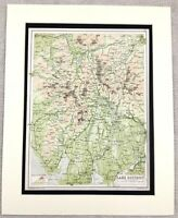 1899 Antique Map of The Lake District English Lakes 19th Century Original