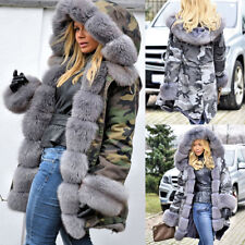 Stylish Women Camouflage Jacket Parka Winter Warm Faux Fox Hooded Fur Liner Coat