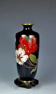 FINE SILVER WIRE ANTIQUE JAPANESE MEIJI CLOISONNE VASE FLOWERS
