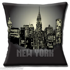 New York Skyline USA Cushion Cover Night Time Building Silhouettes 16 inch 40cm
