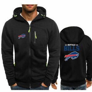 Hot Buffalo Bills Fans Hoodie Warm Jacket Sporty Sweatshirt Coat Autumn Tops