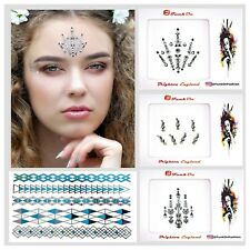 FESTIVAL FACE GEM Job lot- BINDI-Stick On- SILVER TATTOO -GLITTER BODY JEWEL C