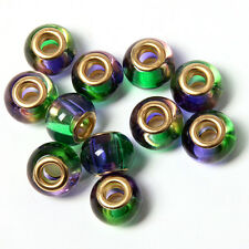 100Pcs Wholesale Purple&Green Lampwork Glass Beads Fit European Charms Bracelet
