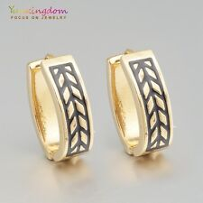 Hot Sale Black Gold Color Gold Plated Lady Girl Ear Jewelry Oval Hoop Earrings