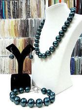 10mm green South Sea shell pearl necklace bracelet earrings set k一v28