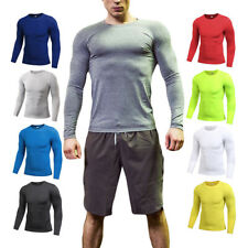 Mens Compression Shirt Long Sleeve Top Base Layer Workout Gym Clothes Sportswear