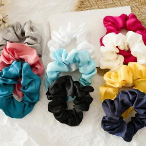 Glossy Satin Small Hair Rings Solid Color Scrunchies Girls Hair Ties Hair Ropes