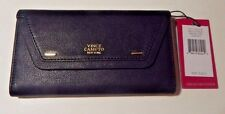 Vince Camuto Tessa Black Grain Leather Trifold Clutch Wallet NWT Retail  $108