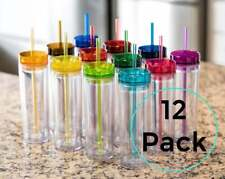 Blank Skinny Tumblers (12 pack) Colored 16oz Bulk Acrylic Tumbler Cups | Diy Cus
