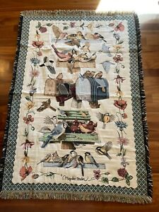 Goodwin Weavers Tapestry Throw Blanket BIRDS AND MAILBOXES Excellent