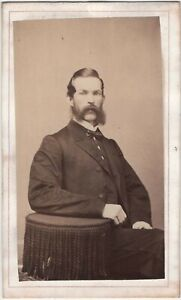 Handsome Man Friendly Mutton Chops Newark NJ Antique CDV Photo Revenue Stamp
