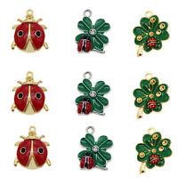 10-Pack Gold Metal Red Oil Drip Enamel Cherry Fruit Pendant Charm 24x21x2mm
