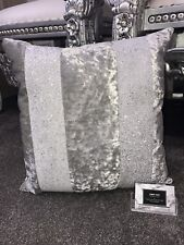 Crushed Velvet Glitter Stripe Cushion - Silver Velvet White Glitter