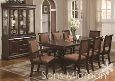 8 Piece Bordeaux Formal Dining Room Set Table 6 Chairs Buffet W/China Hutch  NEW