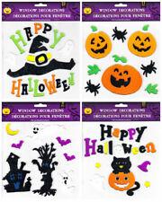 Halloween Gel Window Cling Stickers Happy Halloween Ghost Pumpkin Cat ~Set of 4