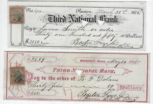 2 Boston, MA Bank checks, Third National Bank, 1872, 1873