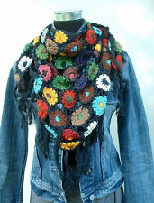 ♥ Blüten Häkel Stola ♥ NEPAL Schal Dreieckstuch Netzoptik Baumwolle Hippie Boho