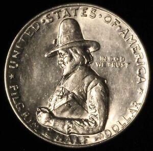 1920 50c Pilgrim Commemorative Silver Half Dollar - Free Shipping USA