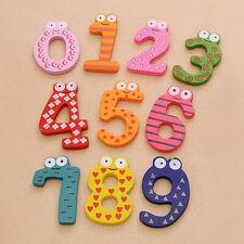 BT_ 10Pcs Lovely Wooden Fridge Magnet Number 0-9 Kids Colorful Educational Toy S