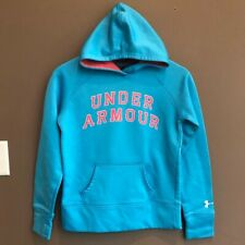Under Armour Blue Pink Hoodie Youth Size Large Pull Over