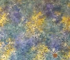 PURPLE & YELLOW FLORAL BATIK FROM LEWIS & IRENE - 100% COTTON FABRIC FQ.'S