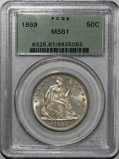 1869 Seated Liberty Half Dollar PCGS MS61 OGH