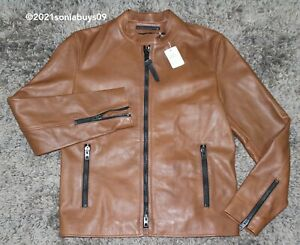 Coach Men's Saddle Leather Racer Jacket, F85899, Brown, Size S