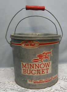 Vintage Galvanized Old Pal Minnow Bucket 2 Piece