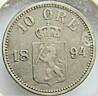 1894 NORWAY, Silver 10 Ore grading About VERY FINE.