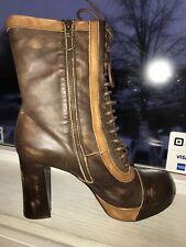 JEFFREY CAMPBELL Pow Pow Brown Tan Platform Block Heel Shoes Boot Size 10