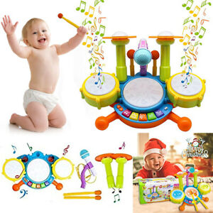 Kids Electronic Drum Set Toddler Musical Toys with 2 Drum Sticks and Microphone