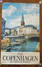 "Vintage Original Copenhagen Denmark Travel Tourism Poster 24.5"" x 39"""